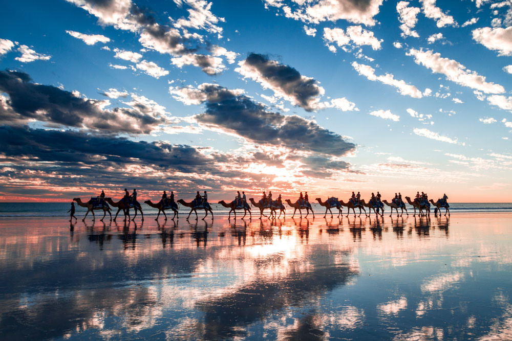 Sunset camel ride, Cable Beach, Broome, Australia.
