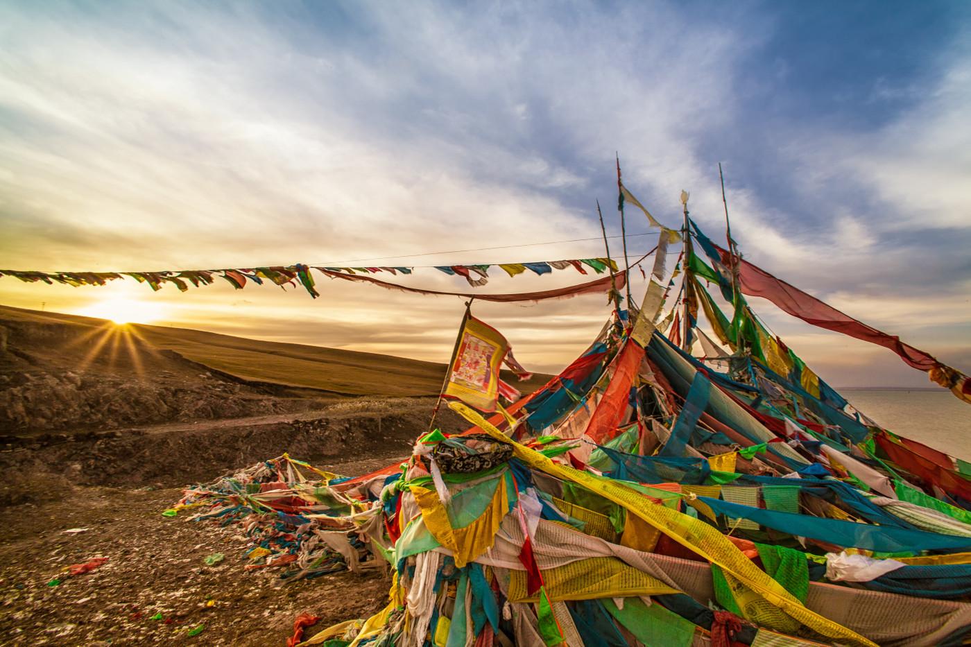 Qinghai Lake prayer flags, Tibetan Plateau, China
