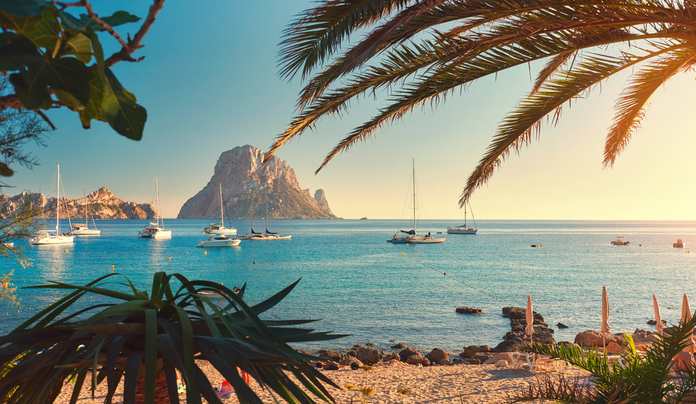 Cala d'Hort beach, Ibiza Island, Balearic Islands, Spain.