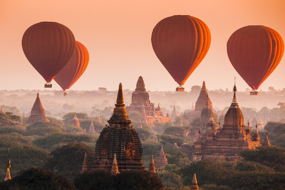 Hot air balloons over Bagan, Myanmar.
