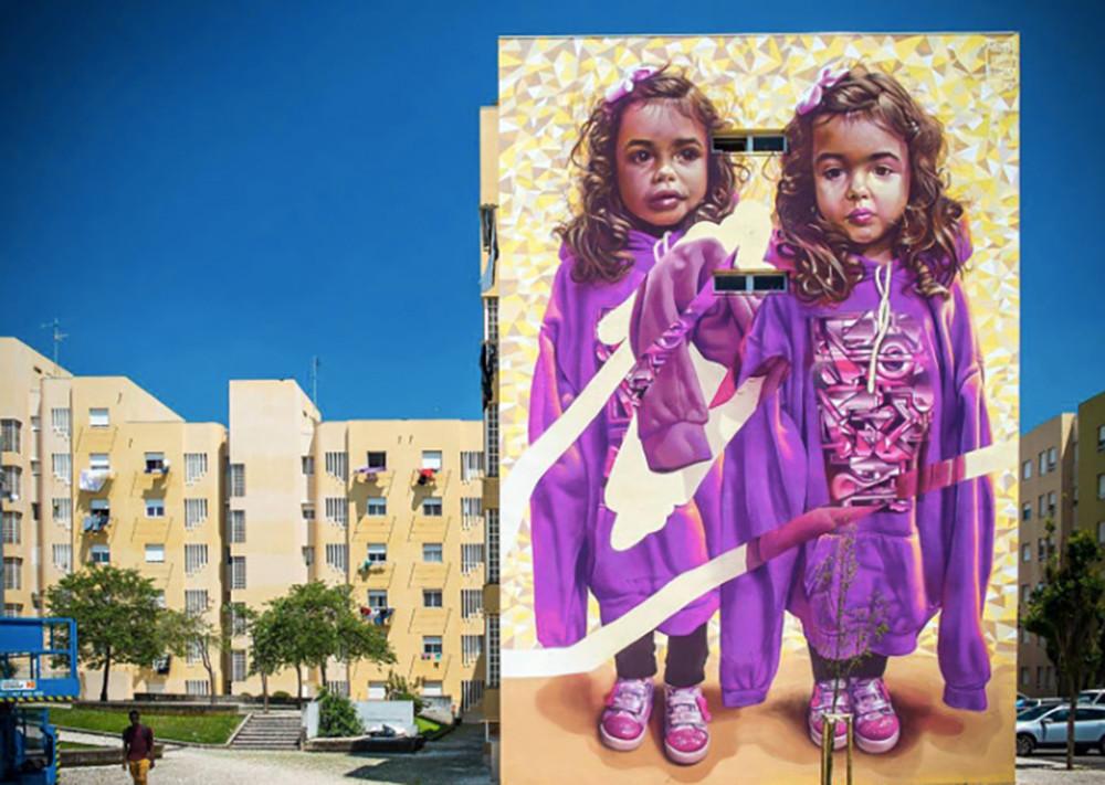 Mural in Bairro Padre Cruz, Lisbon, Portugal.