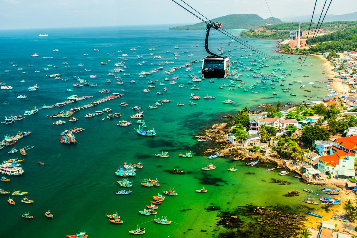 Cable Car in Phu Quoc Island, Phu Quoc Island, Vietnam.