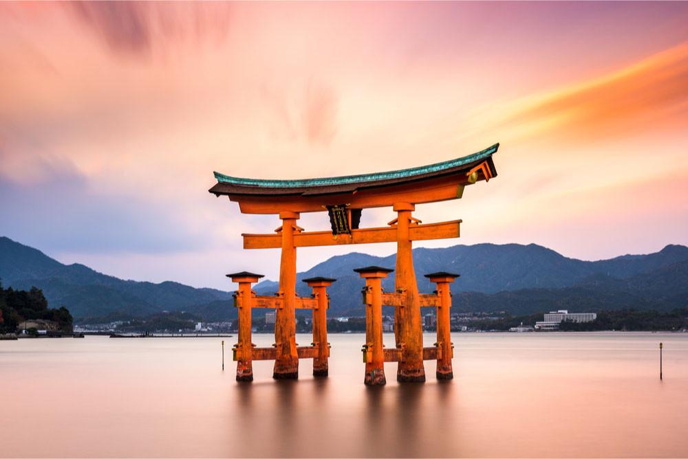 The floating gate of Itsukushima Shrine, Hatsukaichi, Hiroshima Prefecture,Japan.