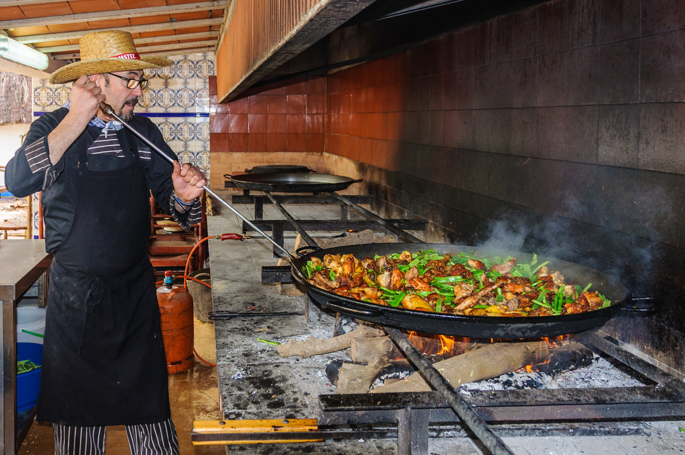 Traditional paella in Spain.