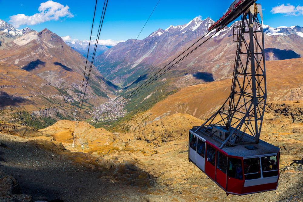 Cable car to Klein Matterhorn, Zermatt, Switzerland.