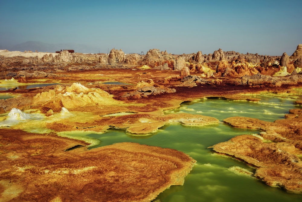 Sulfur hot springs in Dallol, Danakil Depression, Ethiopia.