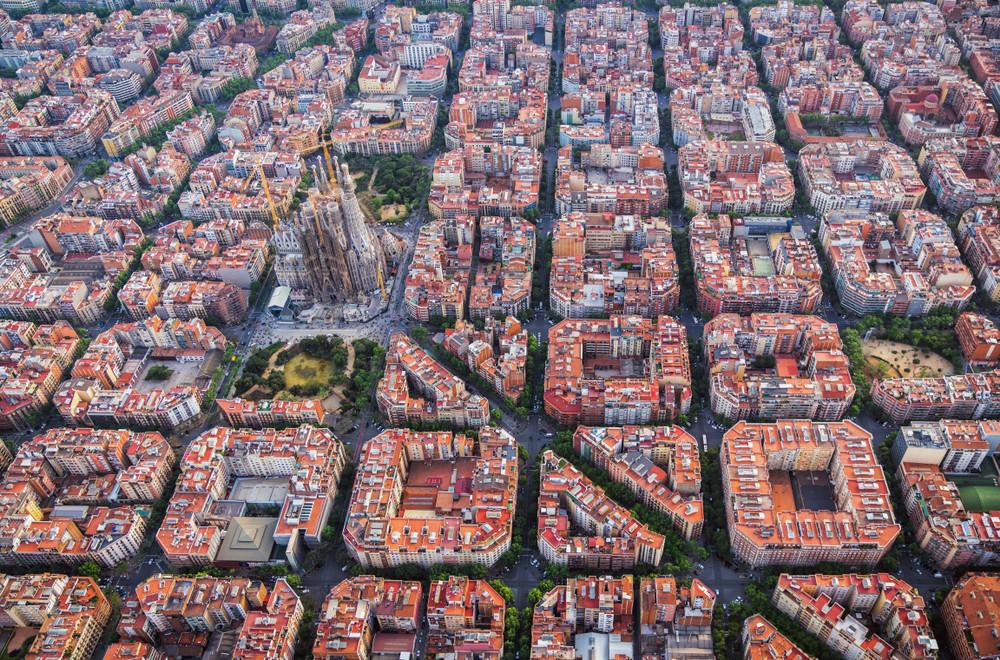 Grid system in Barcelona, Spain.