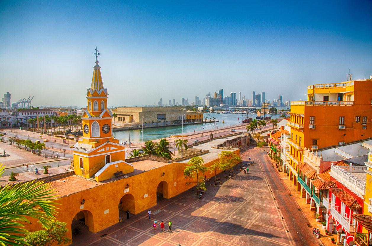 Colorful Clocktower Tower Gate, Cartagena, Colombia. garytog/istockphoto.com.