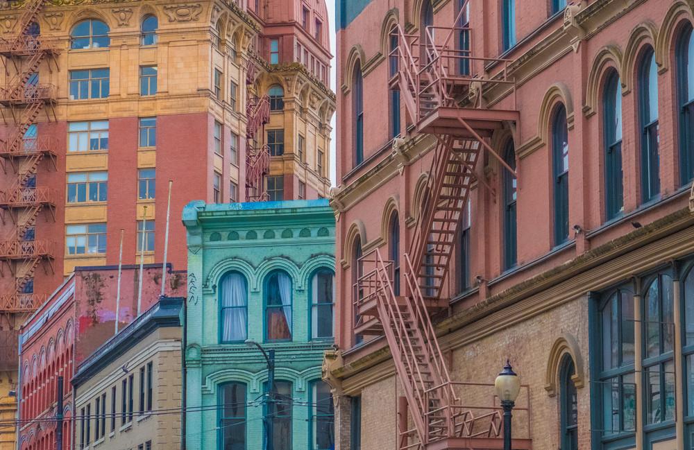 Colorful Victorian architecture, Gaston, Vancouver, British Columbia, Canada.