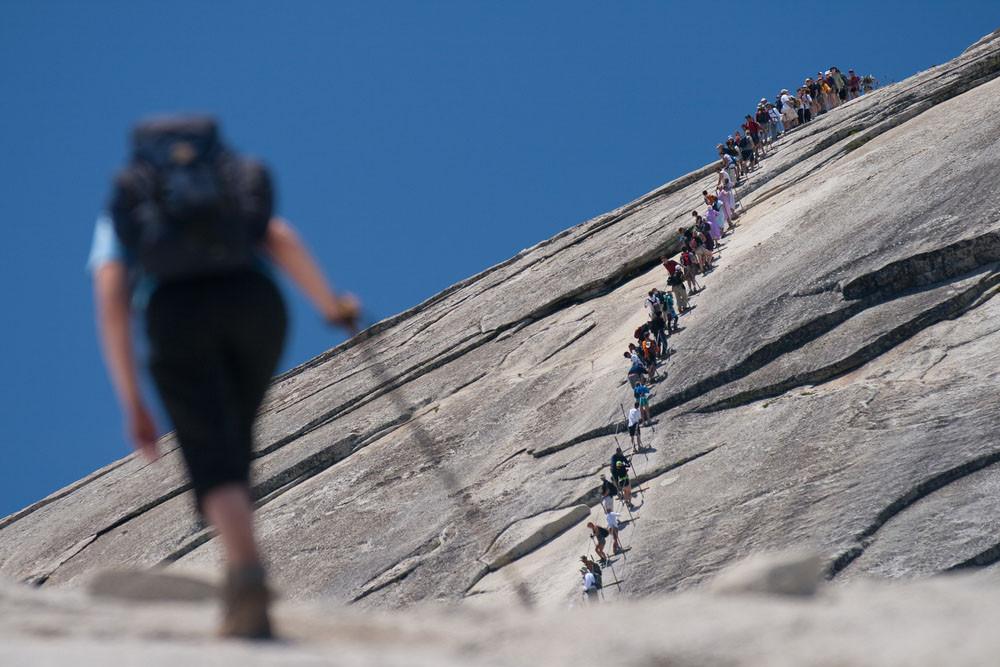 Line up Half Dome, Yosemite National Park, California.