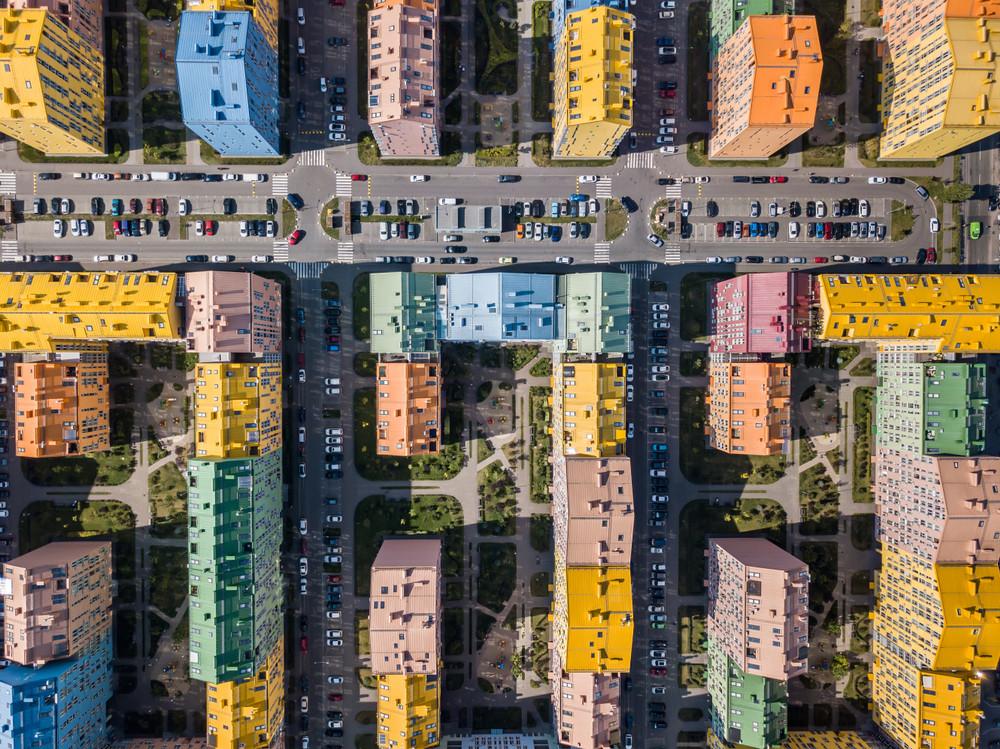Colorful houses, Comfort Town, Kyiv, Ukraine.