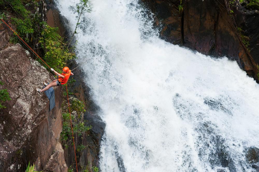 Canyoning in Dalat, Vietnam.