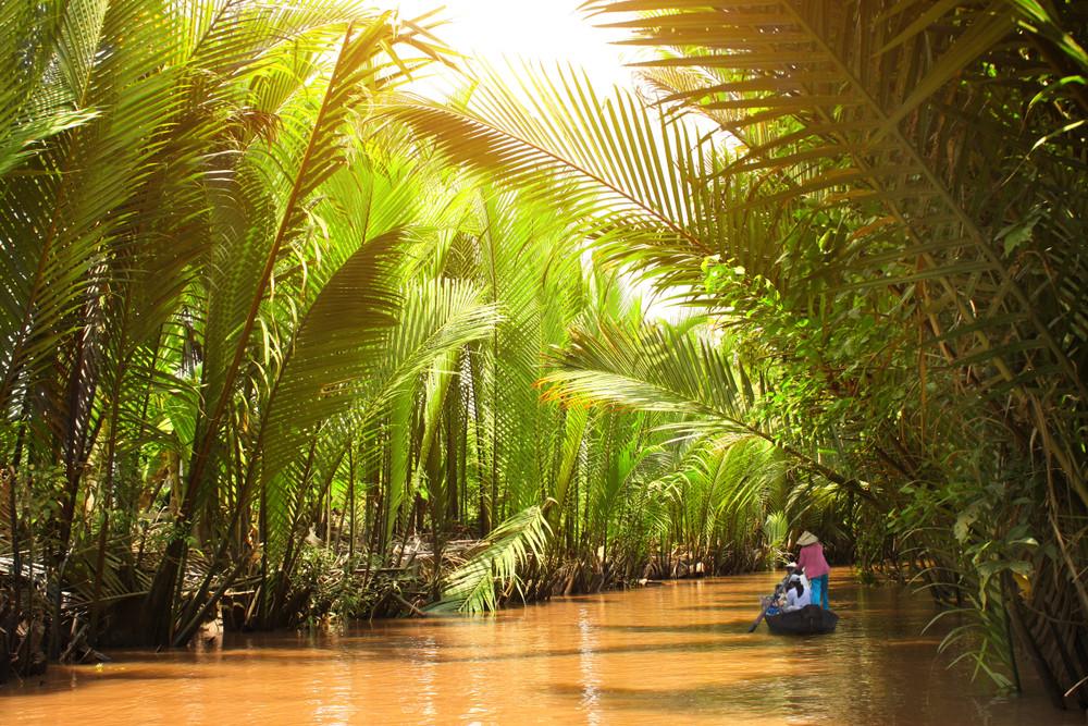 Floating on the Mekong Delta, Vietnam.