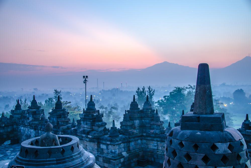 Borobudur temple at sunrise, ogyakarta, Java, Indonesia.