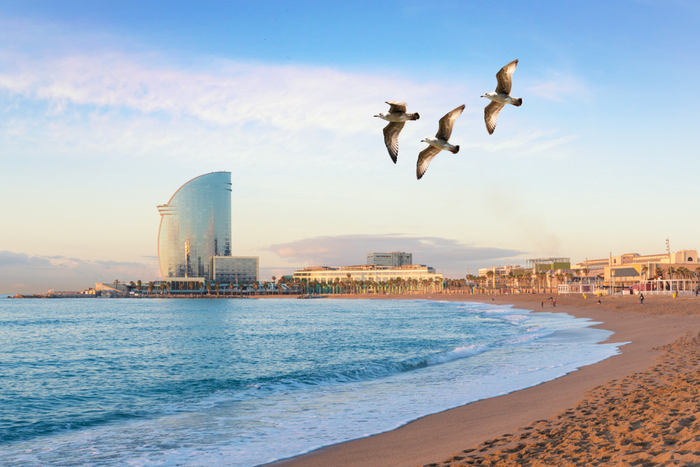Barceloneta Beach, Barcelona, Spain.
