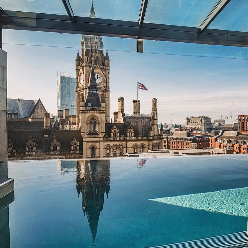 View of Clock Tower, pool at King Street Townhouse, Manchester, UK. Instagram.com/jenniferdurrans