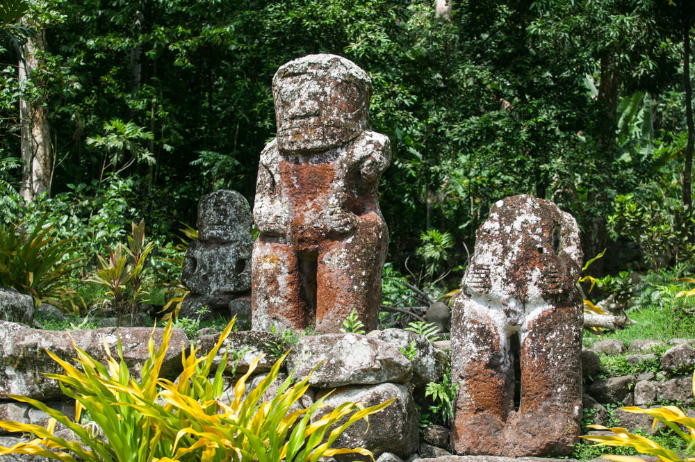 Tikis on Hiva Oa Island, Marquesas Islands, French Polynesia.