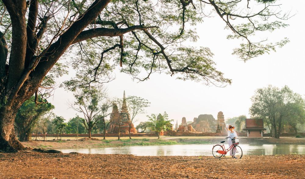 Bike tour of Ayutthaya, Thailand.