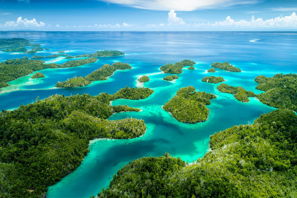 Togean Islands from above, Togean Islands, Sulawesi, Indonesia.