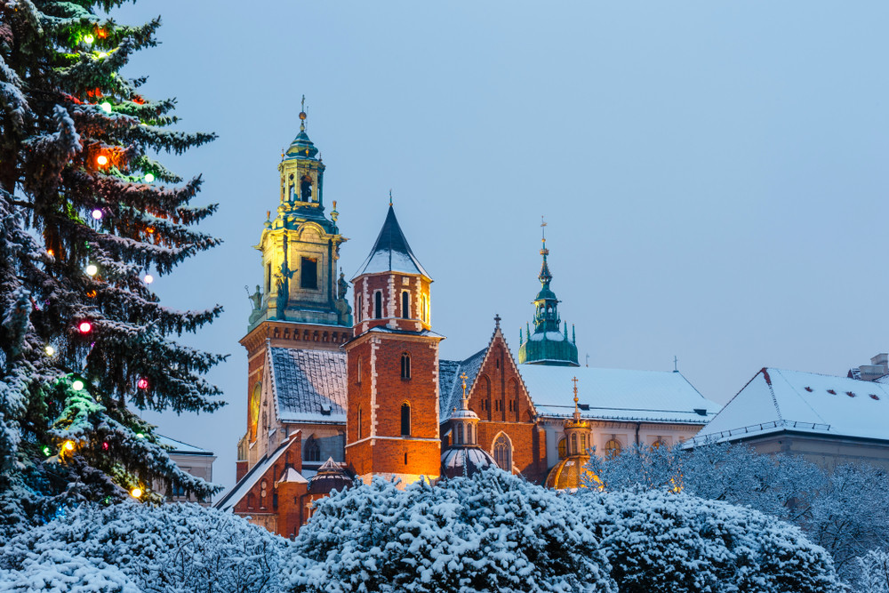 Wawel Cathedral in winter, Krakow, Poland.