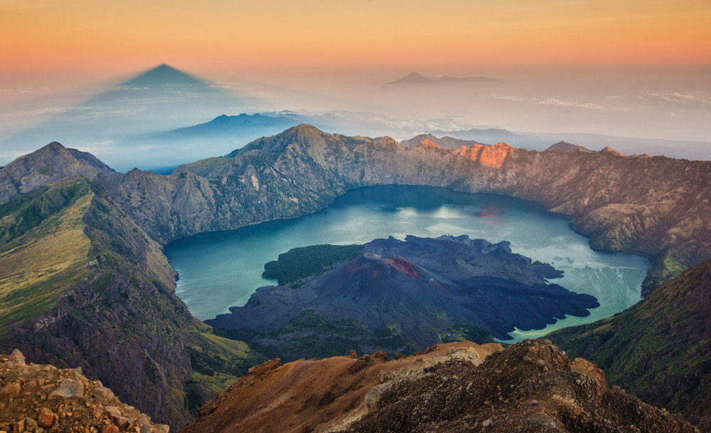 Sunrise from Mount Rinjani, Lombok, Indonesia.