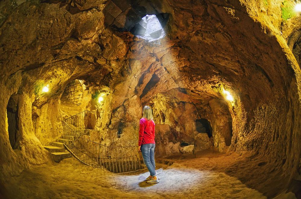 Underground hallway, Derinkuyu, Cappadocia, Turkey.