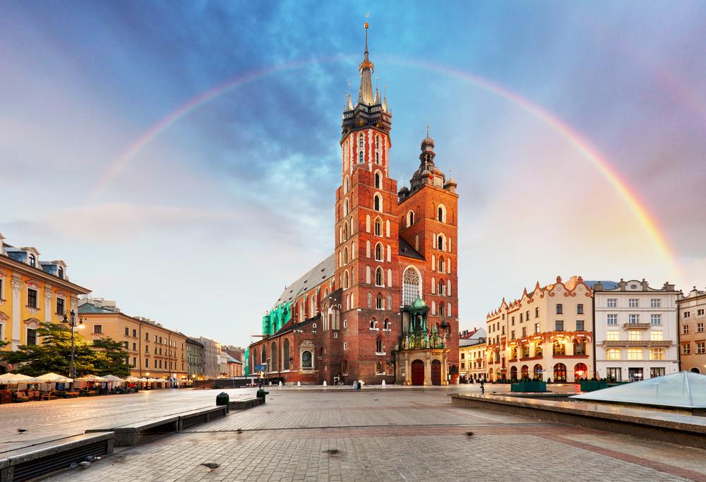 Saint Mary's Basilica, Krakow Old Town, Krakow, Poland.
