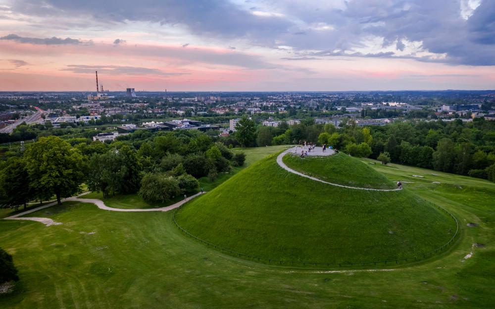 Sunset on Krakus Mound, Krakow, Poland.