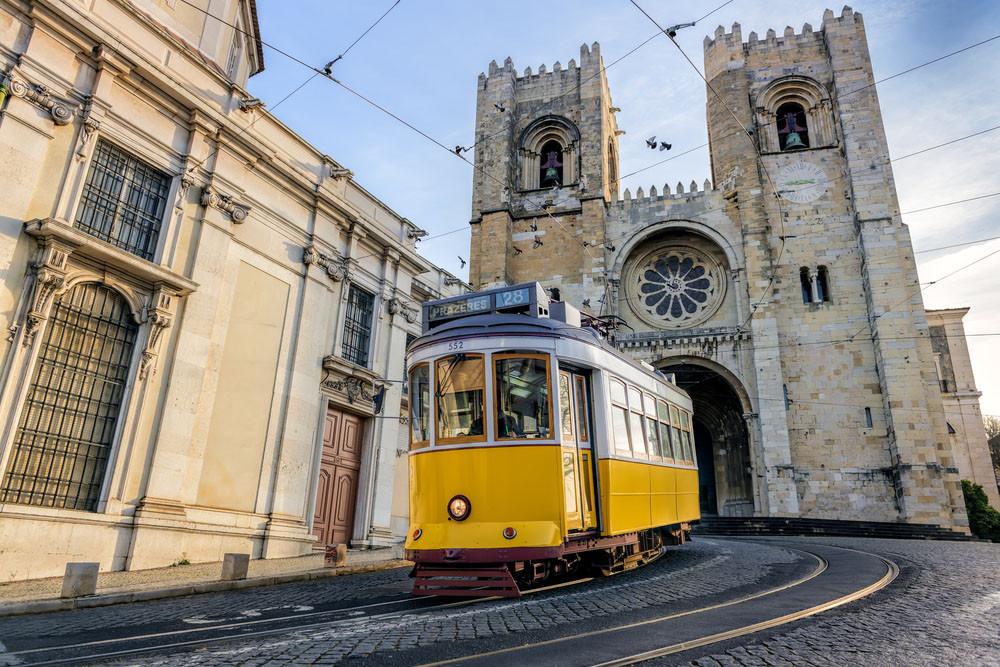 Famous tram line - Yellow tram No. 28, Lisbon, Portugal.