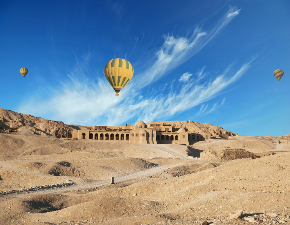 Hot air balloons over Valley of the Kings, Luxor, Egypt.