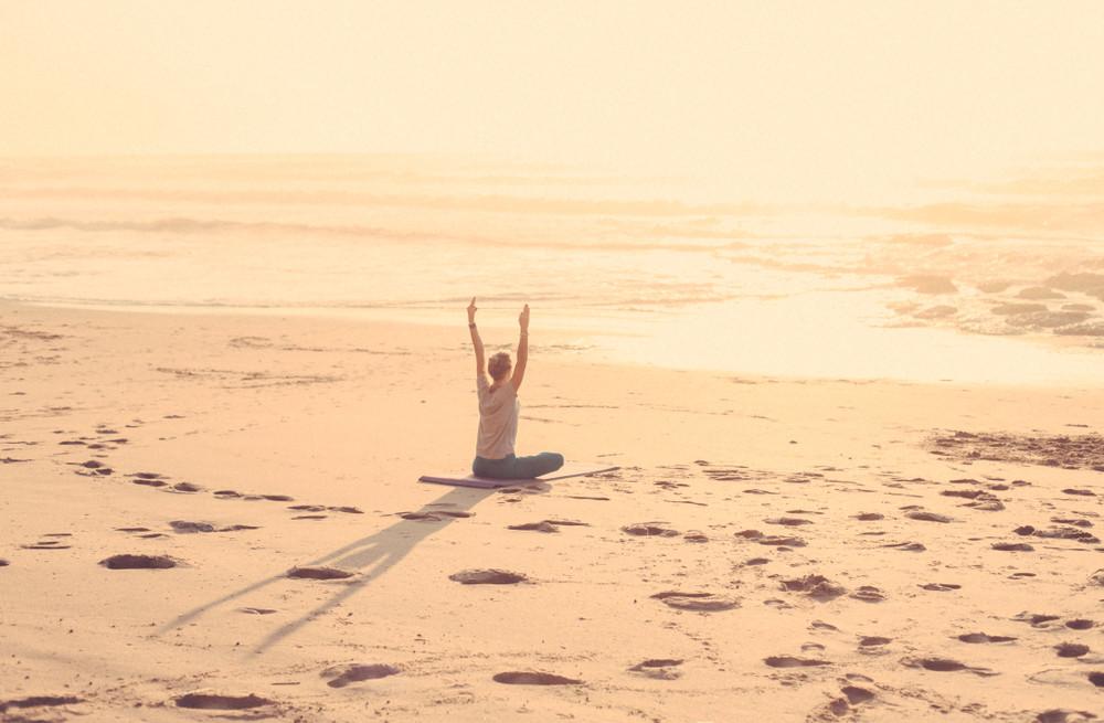 Yoga on the beach, Portugal.