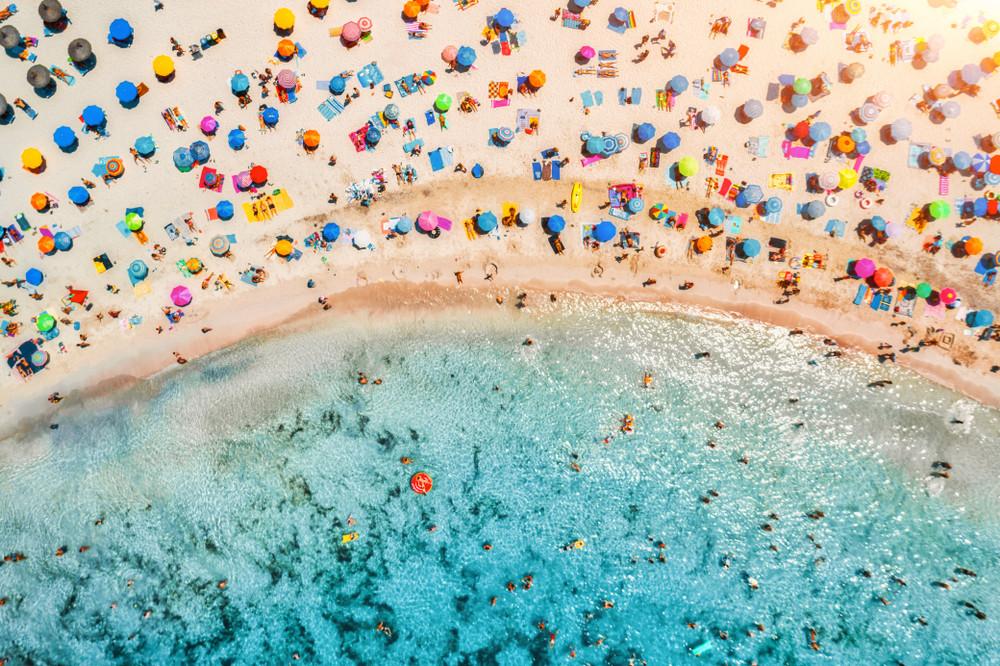 Busy beach in Mallorca (Marjorca), Spain.