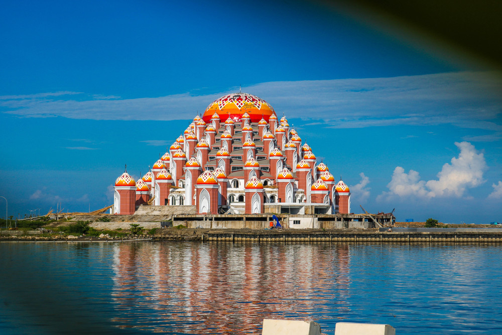 Loser Beach with 99 domes of mosque, Makassar City, Indonesia.