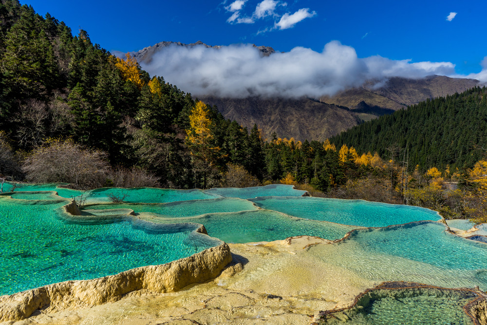 Huanglong Valley hot springs, Sichuan, China.