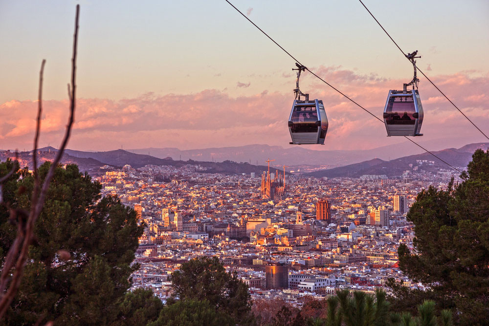 City view, Montjuïc Mountain, Barcelona, Spain.
