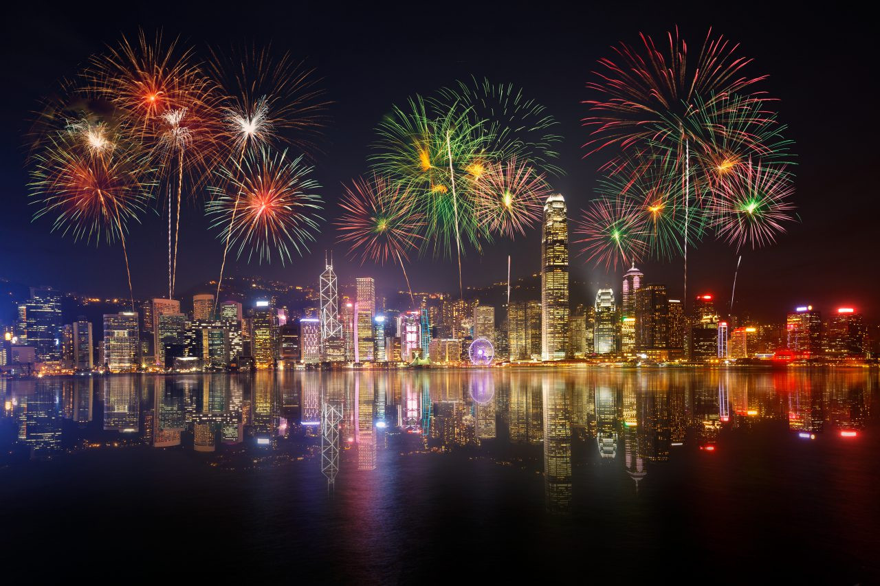 Fireworks over Victoria Harbour, Hong Kong.