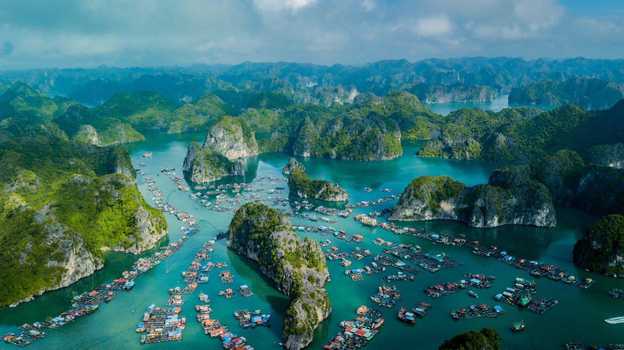 Drone view of a fishing village in Lan Ha bay, Vietnam.