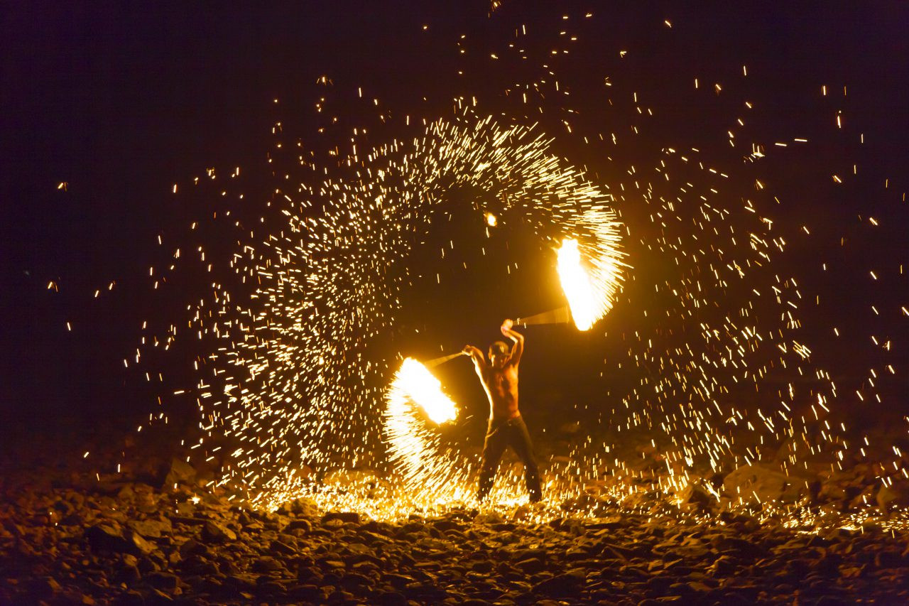 Fire show, Lonely beach, Koh Chang, Thailand.