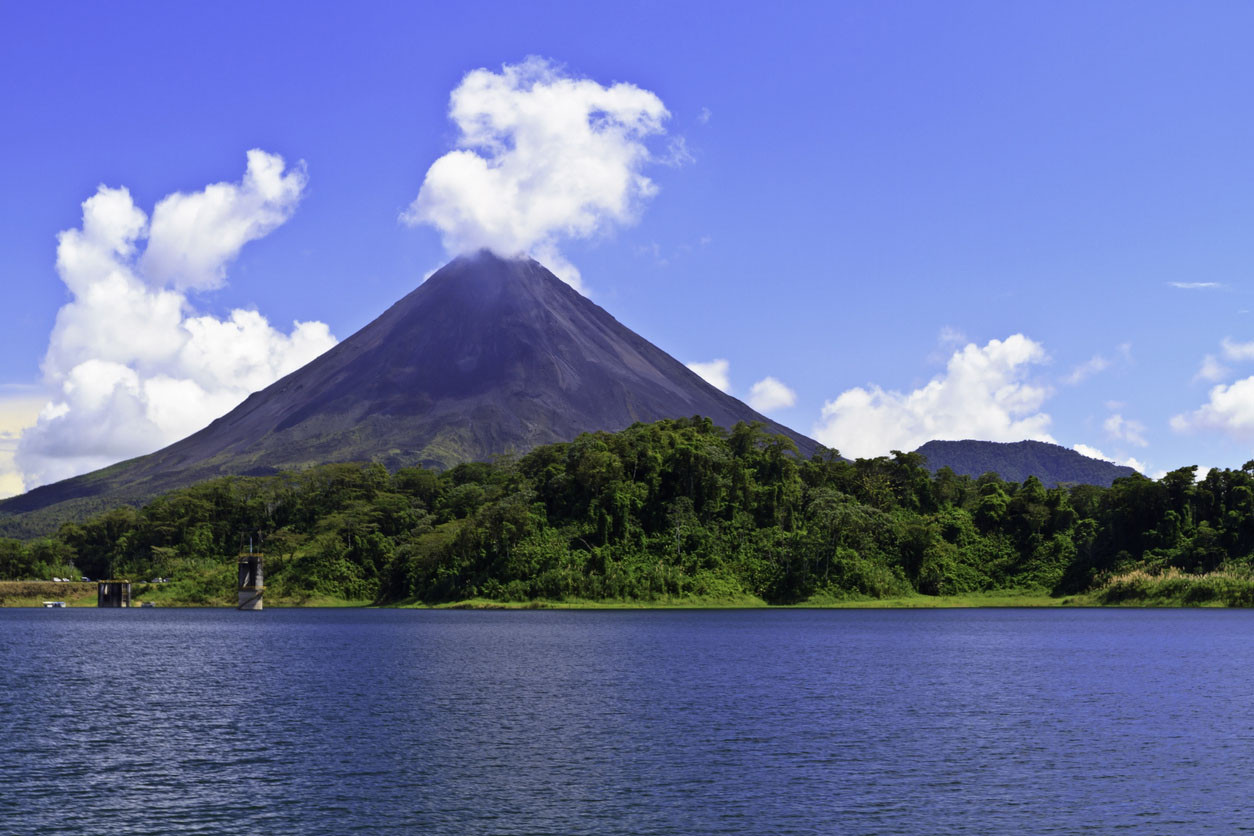 Arenal Volcano and Lake Arenal, Costa Rica.