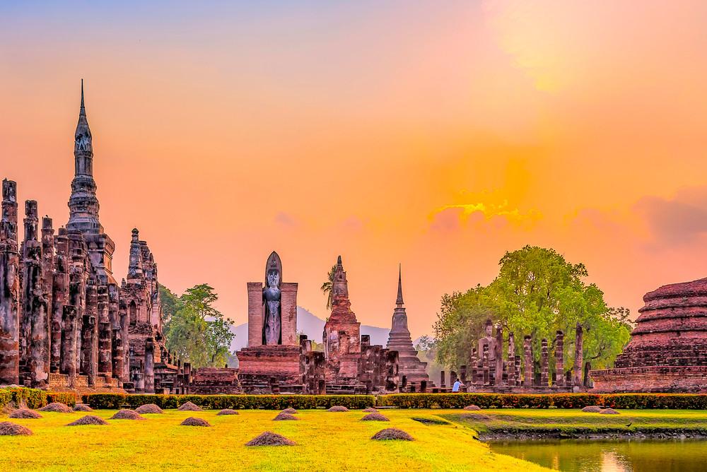 Wat Mahathat Temple, Sukhothai city, Thailand.