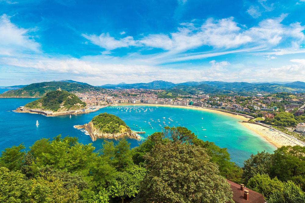 Aerial view of San Sebastián, Spain.